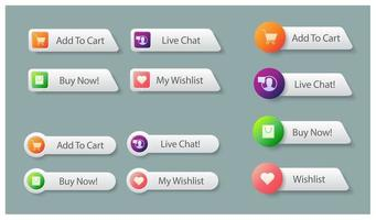 Shopping Buttons For Online Market vector