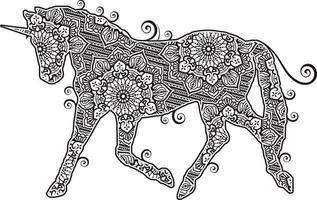 Unicorn Mandala in Line Art Style vector
