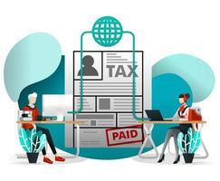 hombre contacto servicio al cliente de impuestos vector