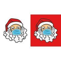 Postcard Santa Claus wearing medical mask vector