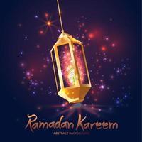 Ramadán Kareem islámico con linterna 3d. vector
