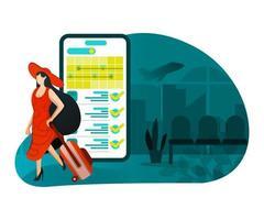 Ilustración de vacaciones con tecnología. vector