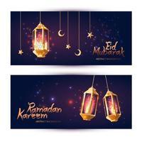 Ramadan Kareem night banner set vector