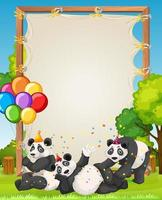 Plantilla de marco de madera de lienzo con pandas en tema de fiesta sobre fondo de bosque