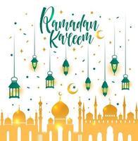 Ramadan Kareem islamic with lanterns. vector