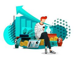 los hombres jóvenes usan internet para administrar sus riquezas vector