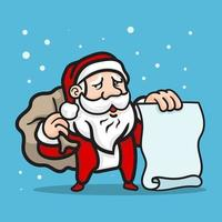 Christmas character holding blank banner vector