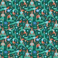 Women exercising yoga seamless pattern