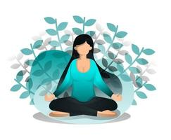 Girl Sits In Lotus Position vector