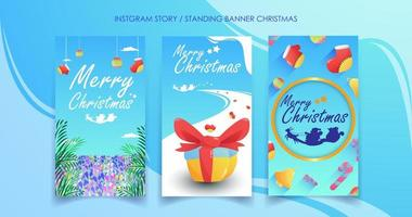 Social media vertical colorful Christmas banners vector