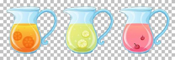 Conjunto de diferentes tipos de jugo de frutas en frascos aislado sobre fondo transparente