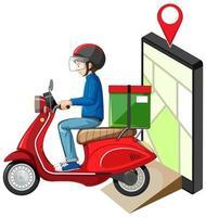 Repartidor de buceo en motocicleta o moterbike con pantalla de mapa en tableta
