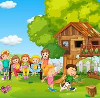 Children playing in the park with a dog vector