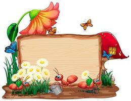 Border template design with insects in the garden background vector