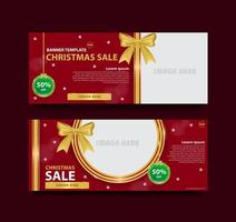 Christmas banner template with photo frame vector