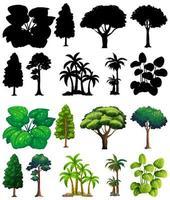 conjunto de planta y árbol con su silueta