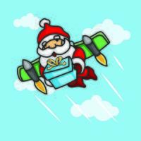 Santa Claus flying with wings