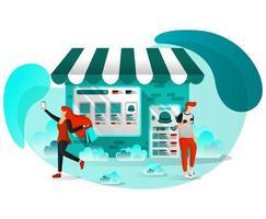 marketing digital de comercio electrónico vector