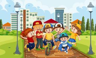 Children group in the park scene vector