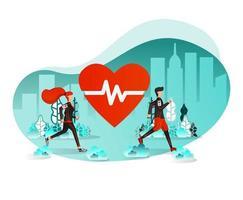 Couple Exercising Outdoor Running vector