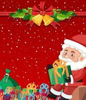 Santa on red background template vector