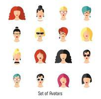Set woman faces vector