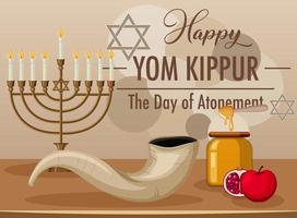 Happy Yom Kippur banner with shofar vector