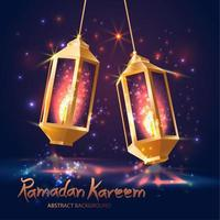 Ramadan Kareem islamic illustration with 3d lanterns. vector