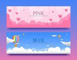 diseños de banner rosa y azul