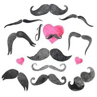 Mustaches set in watercolors