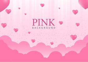 Pink Background with Heart Balloons