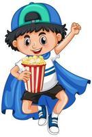 niño feliz con palomitas de maíz