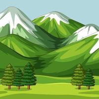 Escena de naturaleza verde vacía con grandes montañas