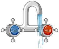 grifo de agua caliente y fría estilo de dibujos animados aislado