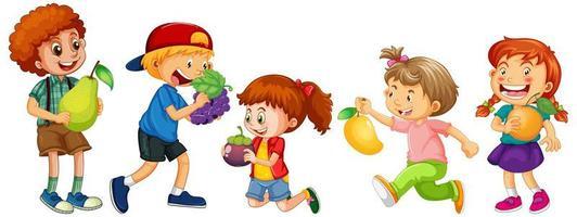 grupo de niños pequeños personaje de dibujos animados sobre fondo blanco