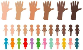Hands and people symbols in different color isolated on white background vector