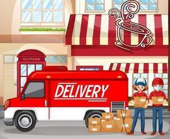 Logotipo de entrega rápida y gratuita con camioneta o camión de reparto en la cafetería. vector