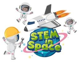 Stem in space logo with astronauts and space objects isolated