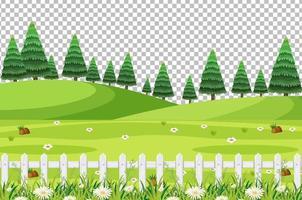 Blank nature park scene landscape on transparent background