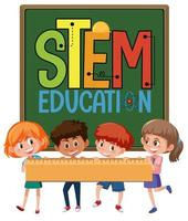 Stem education logo with kids holding ruler isolated vector