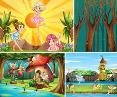 For different scene of fantasy world with fantasy places and fantasy character such as pumpkin house and fairies