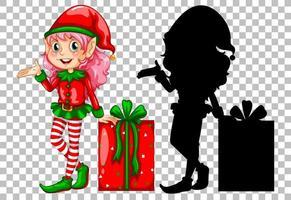 Cute elf next to gift box