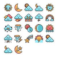 Weather icon set, full color vector