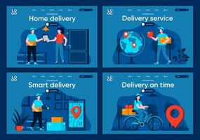 Delivery service, flat landing pages set