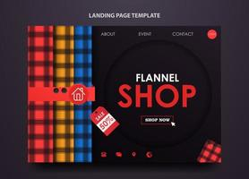 Landing page template for flannel shop vector