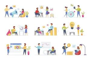 Marketing strategy bundle with people characters vector