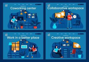 Collaborative workspace, flat landing pages set