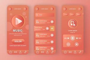 Music unique coral red neomorphic design kit vector