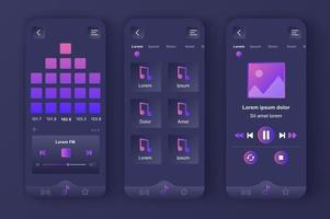 Music player, unique neomorphic dark design kit vector