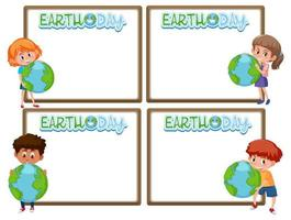 Set of border frame template with earth day theme background